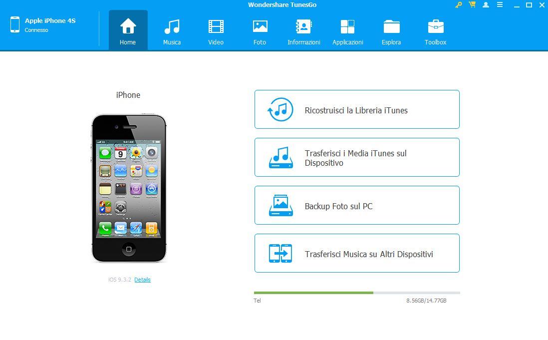 TunesGo per windows - Interfaccia